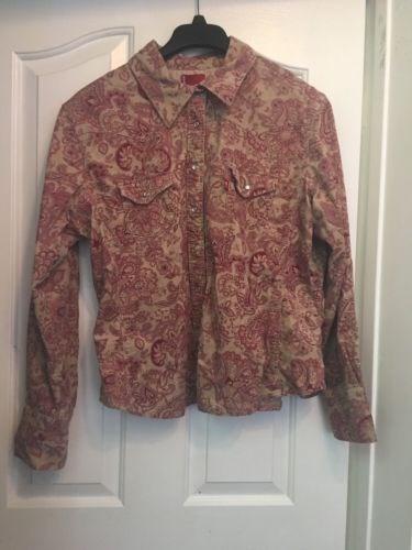 40.53$  Buy here - http://vilnc.justgood.pw/vig/item.php?t=m7ms2zb37942 - LEVI'S A10 Cotton Blend Beige Floral Paisley Snap Button Front Jacket Size XL
