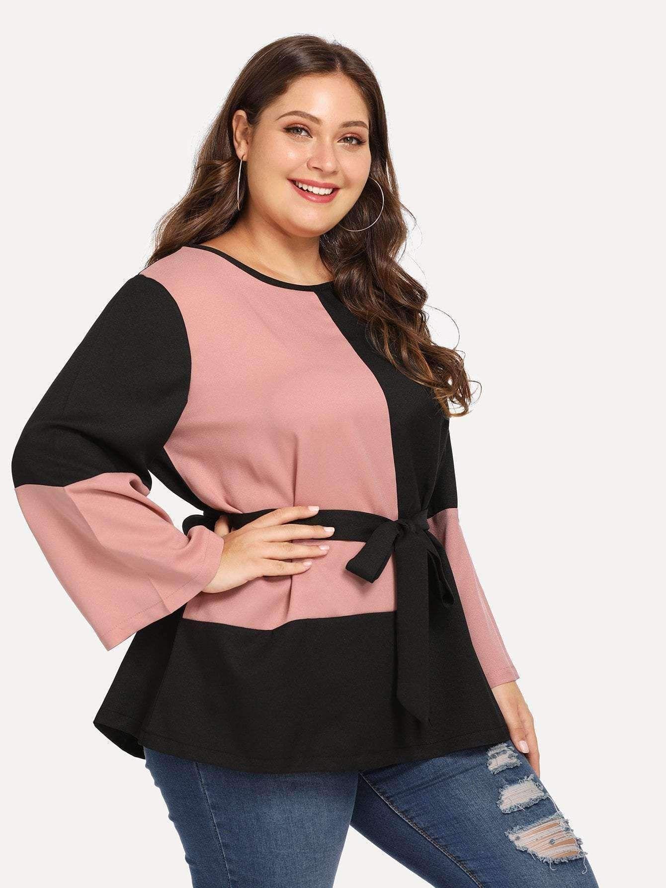 afd323c61a5 Contrast Panel Blouse   Plus Size Collection   Blouse, Fashion ...