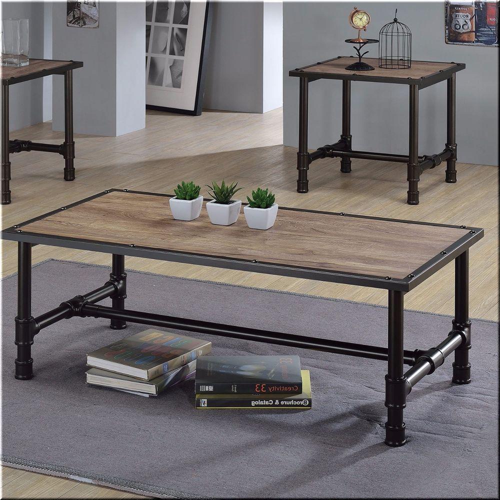 Coffee table wood metal rustic oak black living room