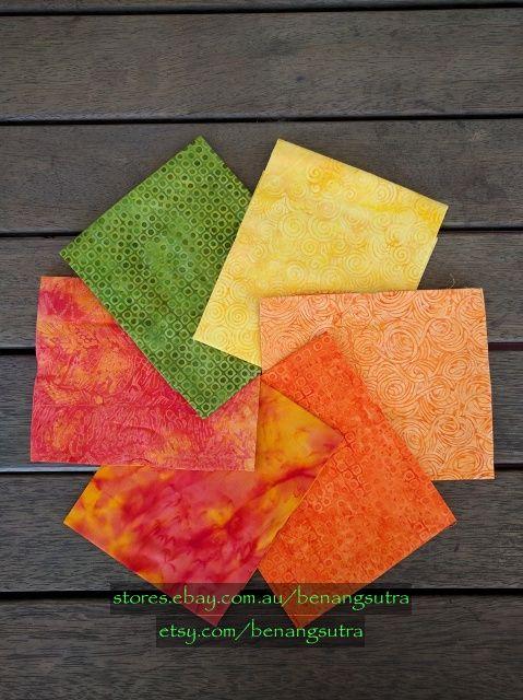 """""""Citrus Chalcedony"""" Batik Fabric Fat Quarter Pack (6 pieces) - 50cm x 56cm or 20"""" x 22"""" - $24.50"""