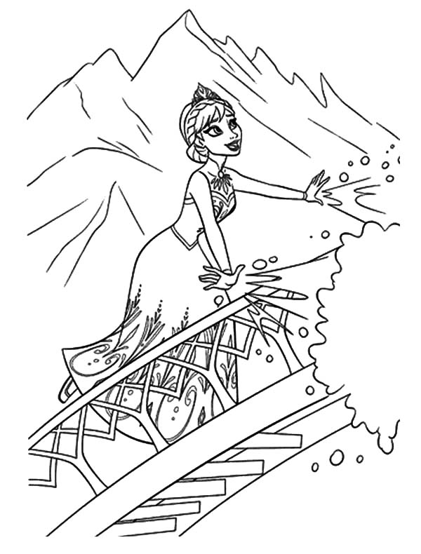 Queen Elsa Stair To Her Castle Coloring Pages Coloring Sky Elsa Coloring Pages Frozen Coloring Pages Disney Coloring Pages