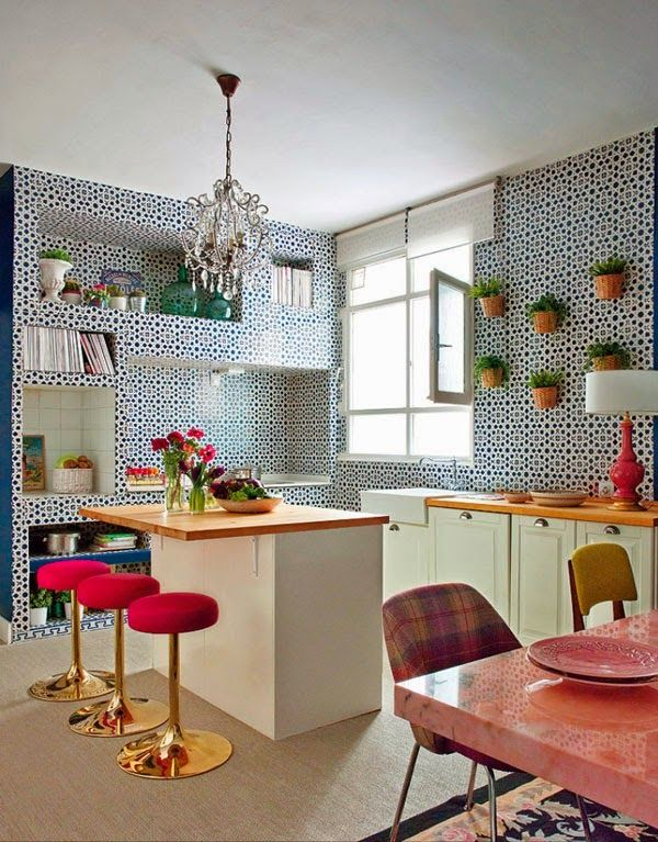 Cocina azulejos azul y blanco estilo árabe andaluz araña techo ...