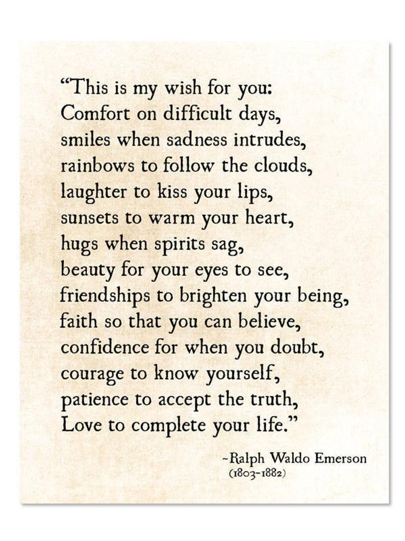 Ralph Waldo Emerson Quote, My Wish For You, Grad Graduation Gift, Literary Art Print, Poetry Art Print, Unframed