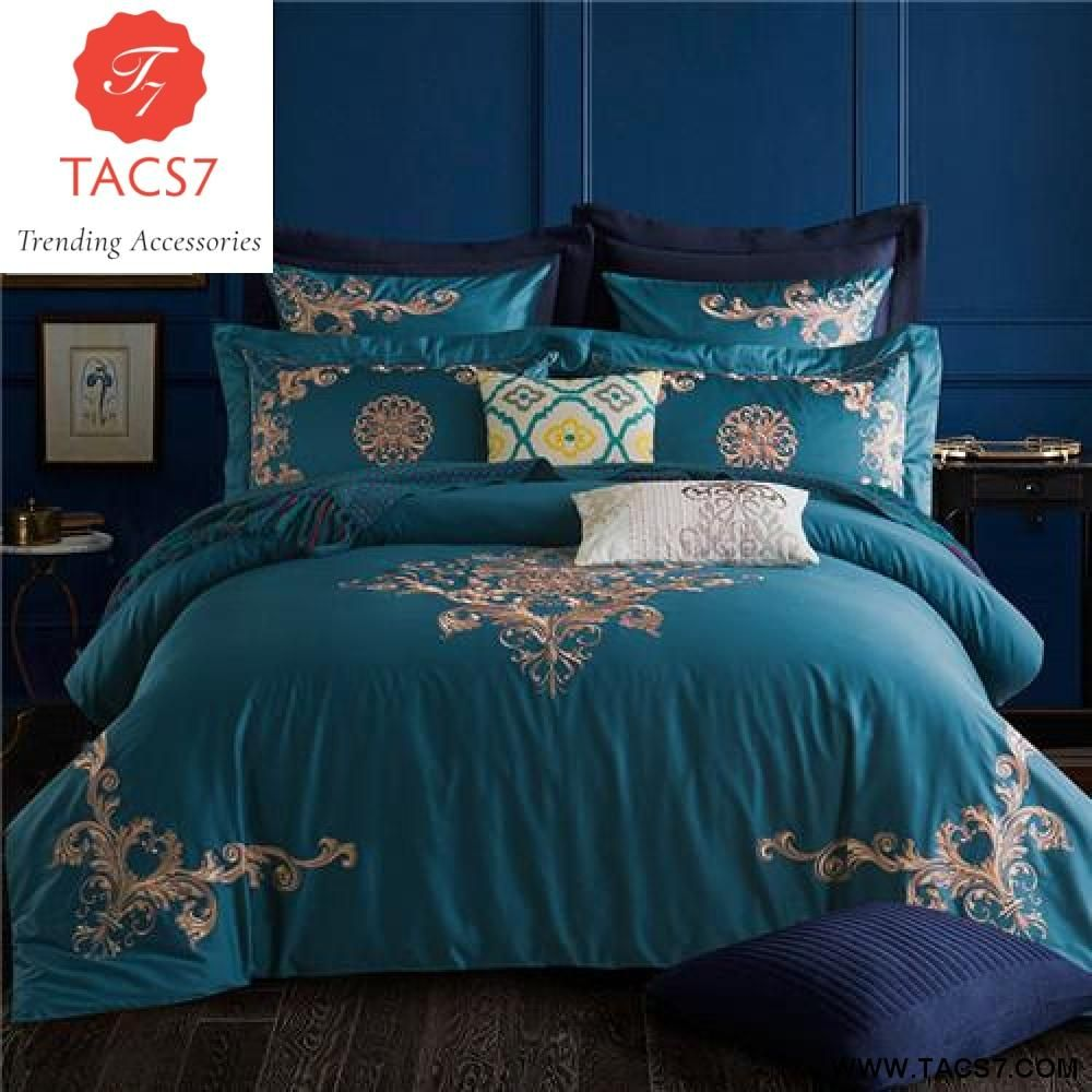 05429ccc03b3 Luxury Bedding Sets Embroidery long stapled cotton 4pcs Queen/King Size  Duvet Cover Set Bedclothes