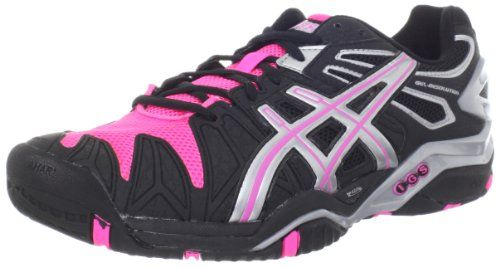 ASICS Women's Gel-Resolution 5 Tennis Shoe,Black/Hot Pink/Silver,8.5 M US Synthetic and mesh upper. Rubber outsole. AHAR. DuoMax. Forefoot GEL Cushioning System.  #ASICS #Shoes