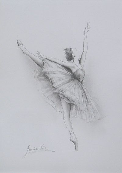 Original Pencil Drawing 12 X 8 On White Paper Of Ballerina By Etsy Ballet Drawings Dancing Drawings Dancer Drawing