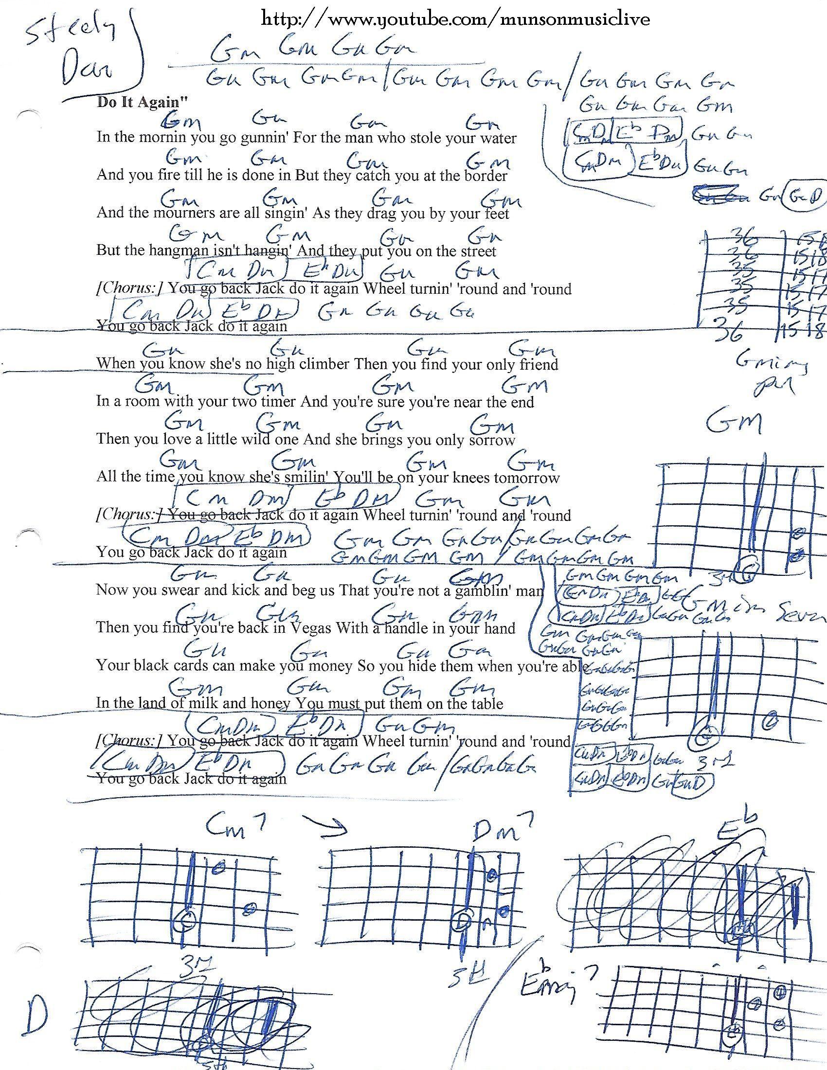 Do It Again Steely Dan Guitar Chord Chart  Sheet Music