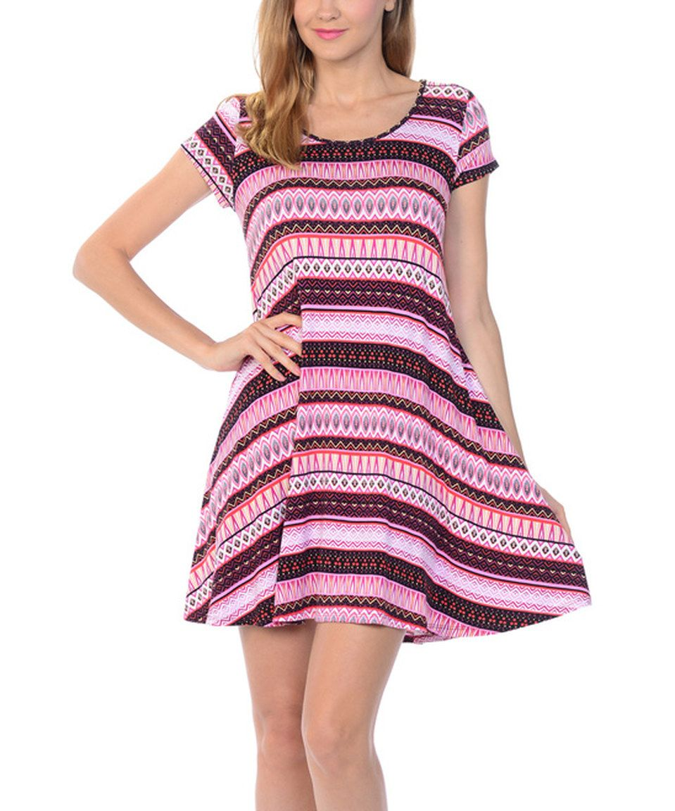 This Evelie Coral & Black Geo Skater Dress by Evelie is perfect! #zulilyfinds