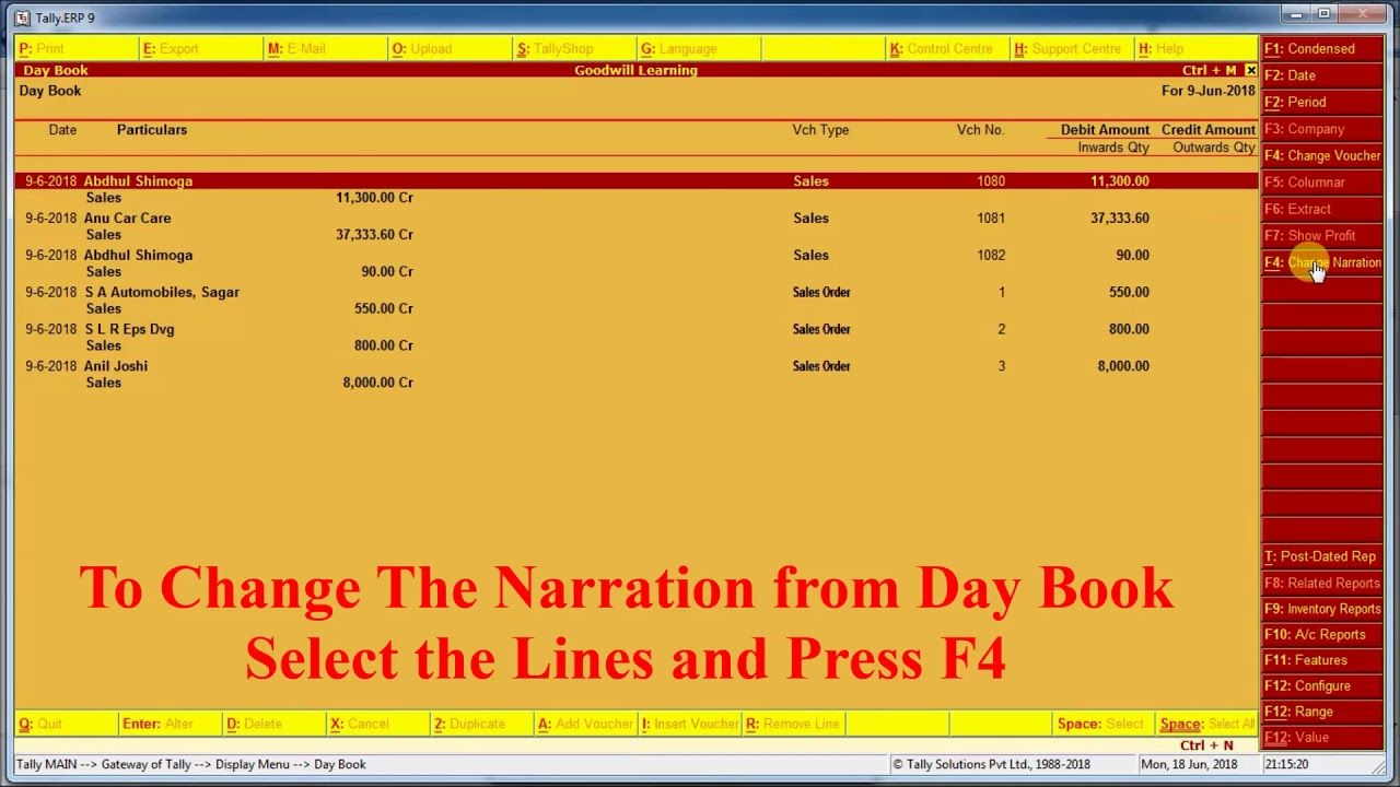 Tally TDL for Change the Narration from Day book and Ledger Account