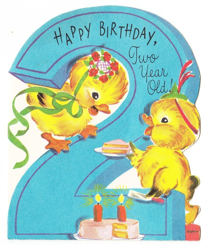 vintage baby card | Vintage Baby Ducks with Cake 2 Year Old Birthday ...
