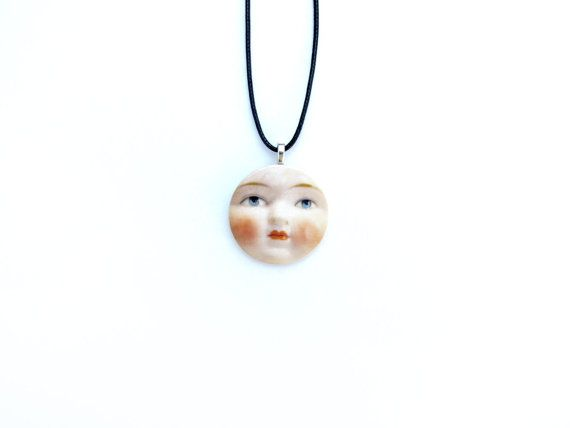 Luna Necklace  Full Moon Necklace  Doll Face by WalterSilva, $15.00