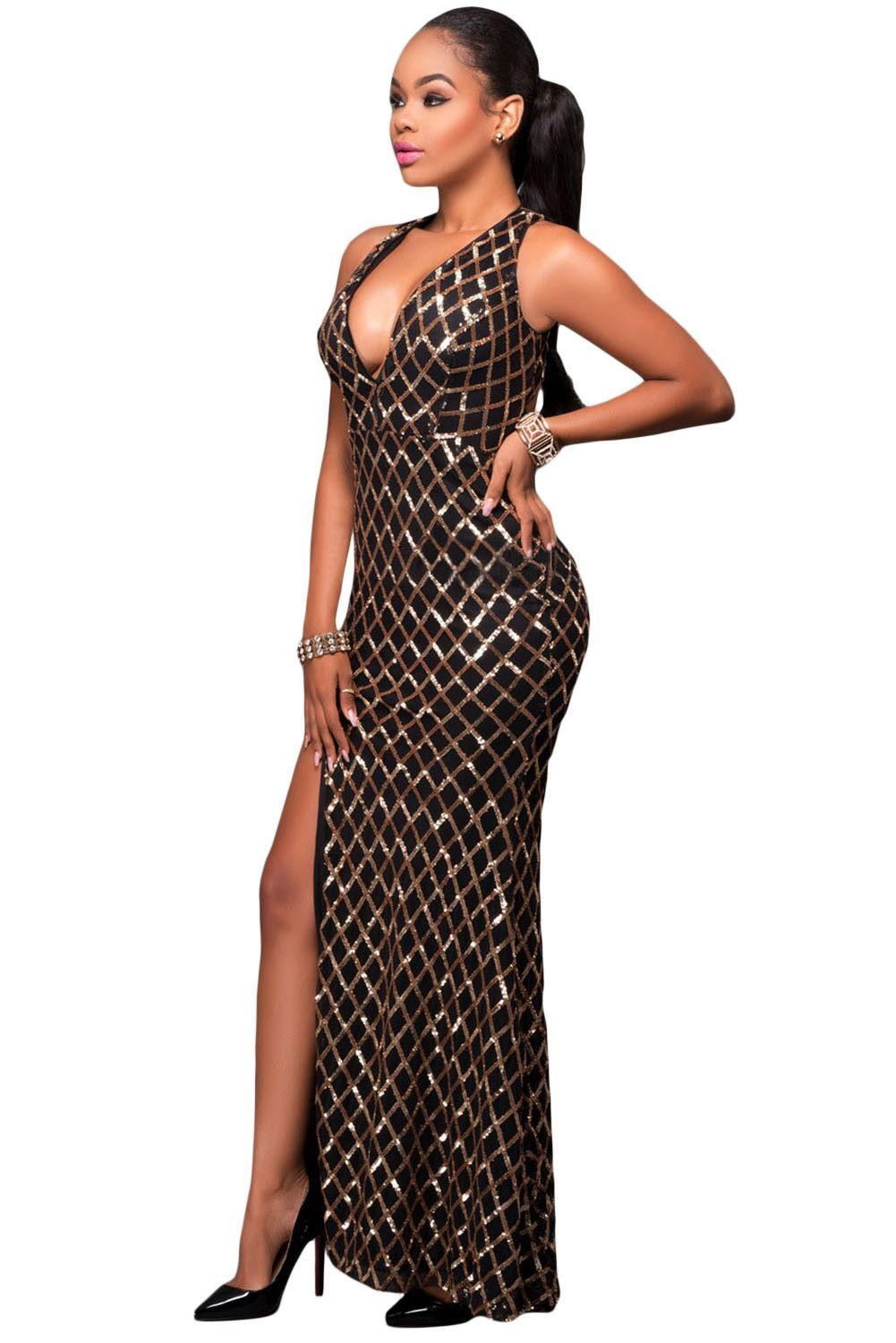 Black gold diamond sequins keyhole back slit gown products