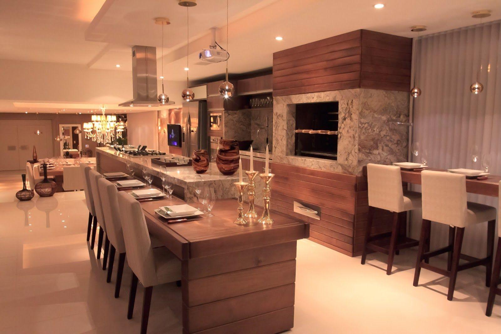 20 Cozinhas Integradas S Salas Veja Dicas E Tend Ncias De  ~ Fogao A Lenha Cozinha Moderna
