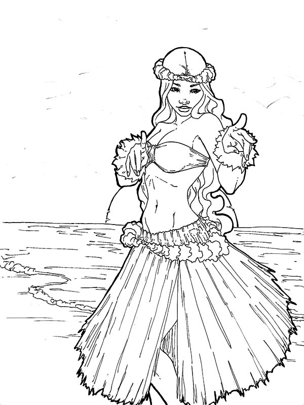 Hula Girl With Beach View Coloring Pages Coloring Sky Beach Coloring Pages Coloring Pages Barbie Coloring Pages