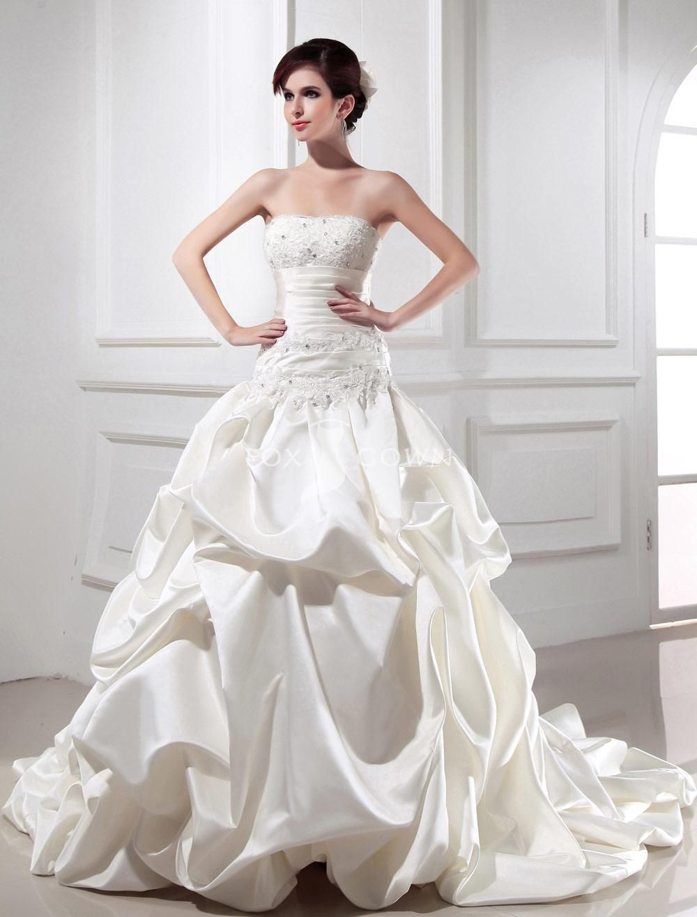 ivory strapless ballgown pickup bubble skirt satin