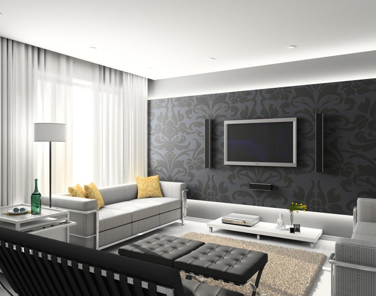 Bedroom decorating ideas feature wall - Feature Wall With Tv Living Room Decorating Ideas Feature Wall With Black Wall Large Tv