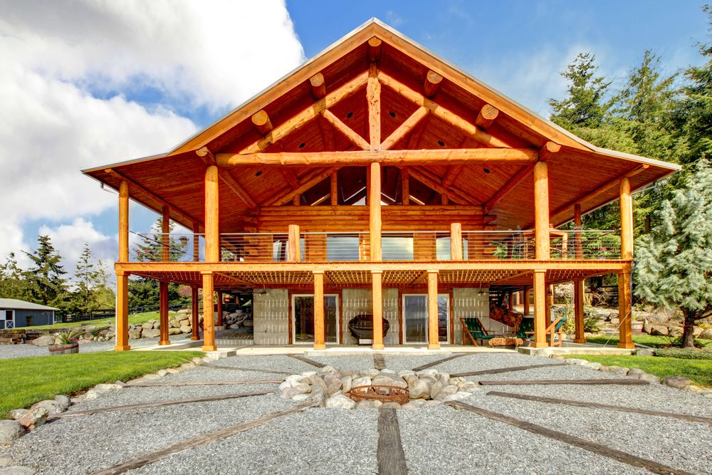 33 stunning log home designs photographs verandas for Homes with verandahs all around
