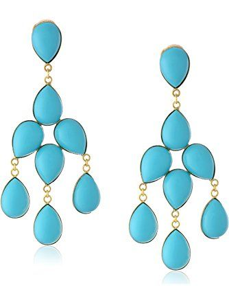 """Yochi 14k Gold-Plated Synthetic-Turquoise Chandelier Clip-On Earrings, 3.5"""" ❤ Yochi"""
