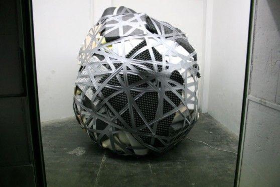 alis #art #scotch tape #silver #ball #net #web #conceptual art