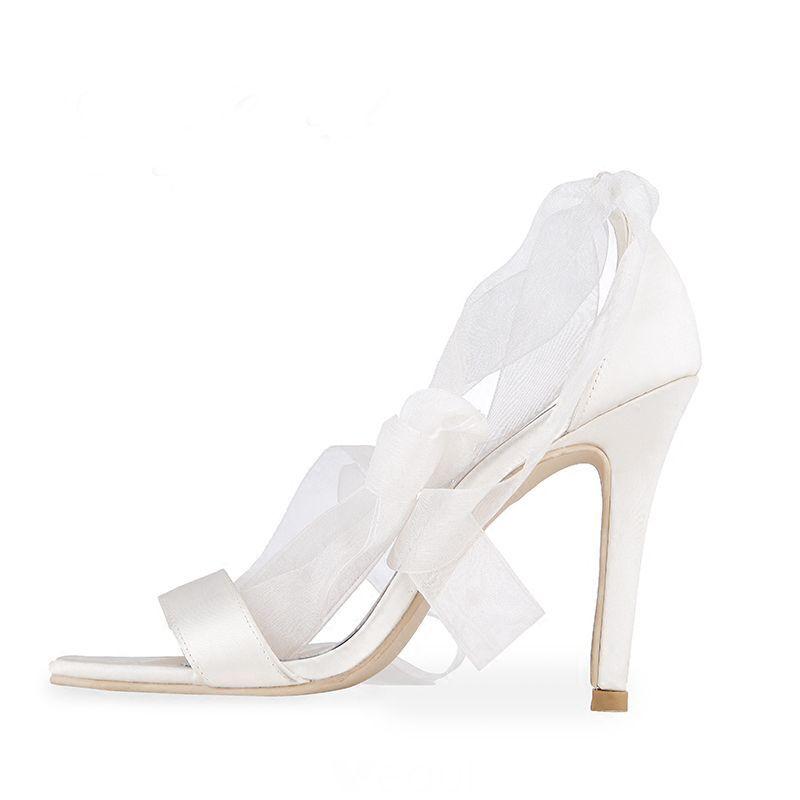 Piekne Biale Lato Buty Slubne 2018 Skorzany Kokarda Wiazane 10 Cm Szpilki Peep Toe Slub Wysokie Obcasy Wedding Shoes Bow Wedding High Heels Summer Wedding Shoes