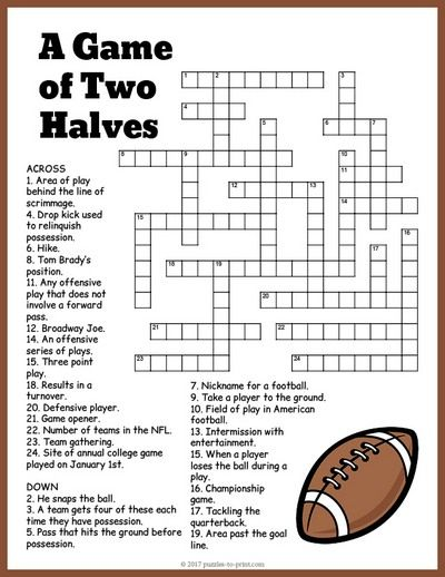 Free Printable Football Crossword Super Bowl Activities Printable Puzzles Crossword