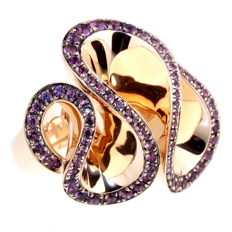 De Grisogono Zigana Amethyst Rose Gold Ring In 2020 Rose