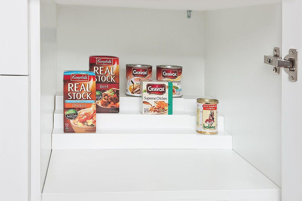The Expand-A-Shelf is designed to be a versatile storage unit for the pantry, kitchen, garage or indeed anywhere that you need to best utilise space. Three stepped shelves expand out from 35cm to 68cm.