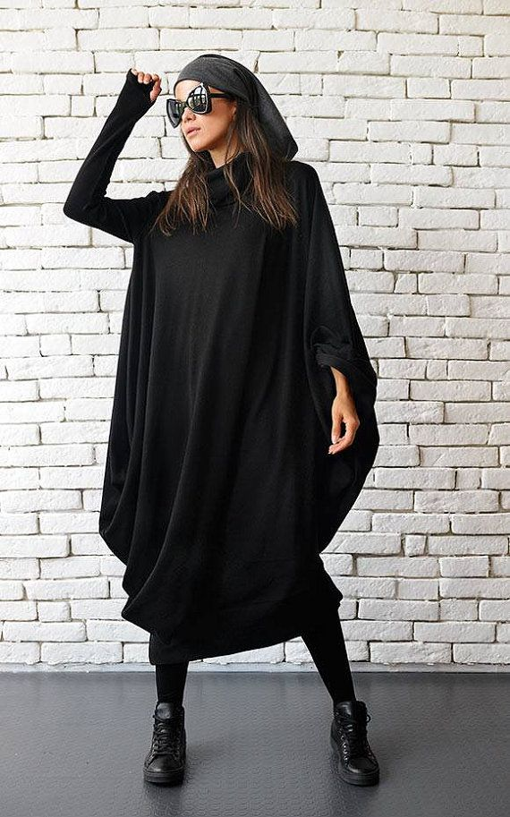 Plus Size Maxi Dress/Oversize Black Dress/Long by Metamorphoza