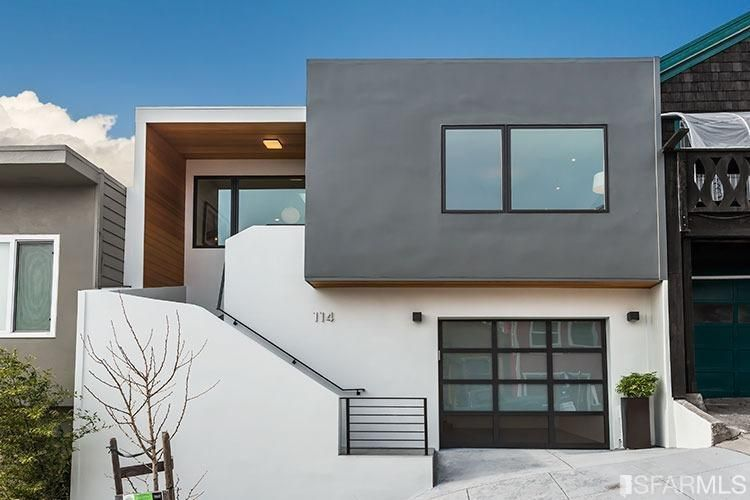 Modern Gray And White Stucco Siding San Francisco Mid Century