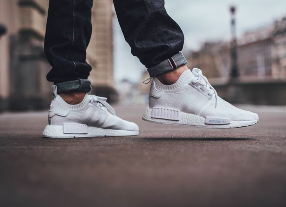 Adidas NMd R1 PK Primeknit Gum Pack Triple White Boost BY 1888