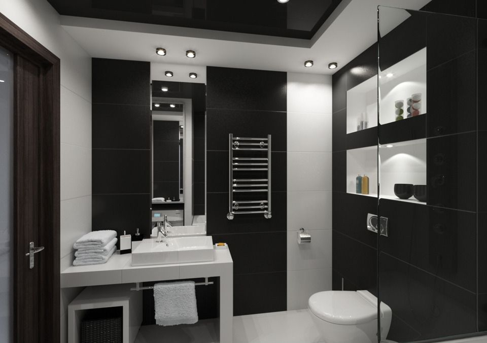 Fekete-fehér fürdőszoba berendezés és burkolat ötletek - egy ...