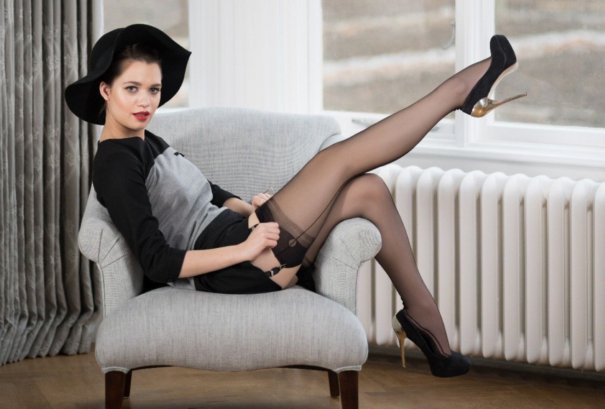 Contrast Seamed Stockings   Fully fashioned stockings
