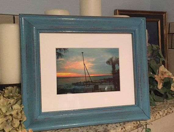 framed beach photography turquoise frame beach frame sailboat shabby chic decor