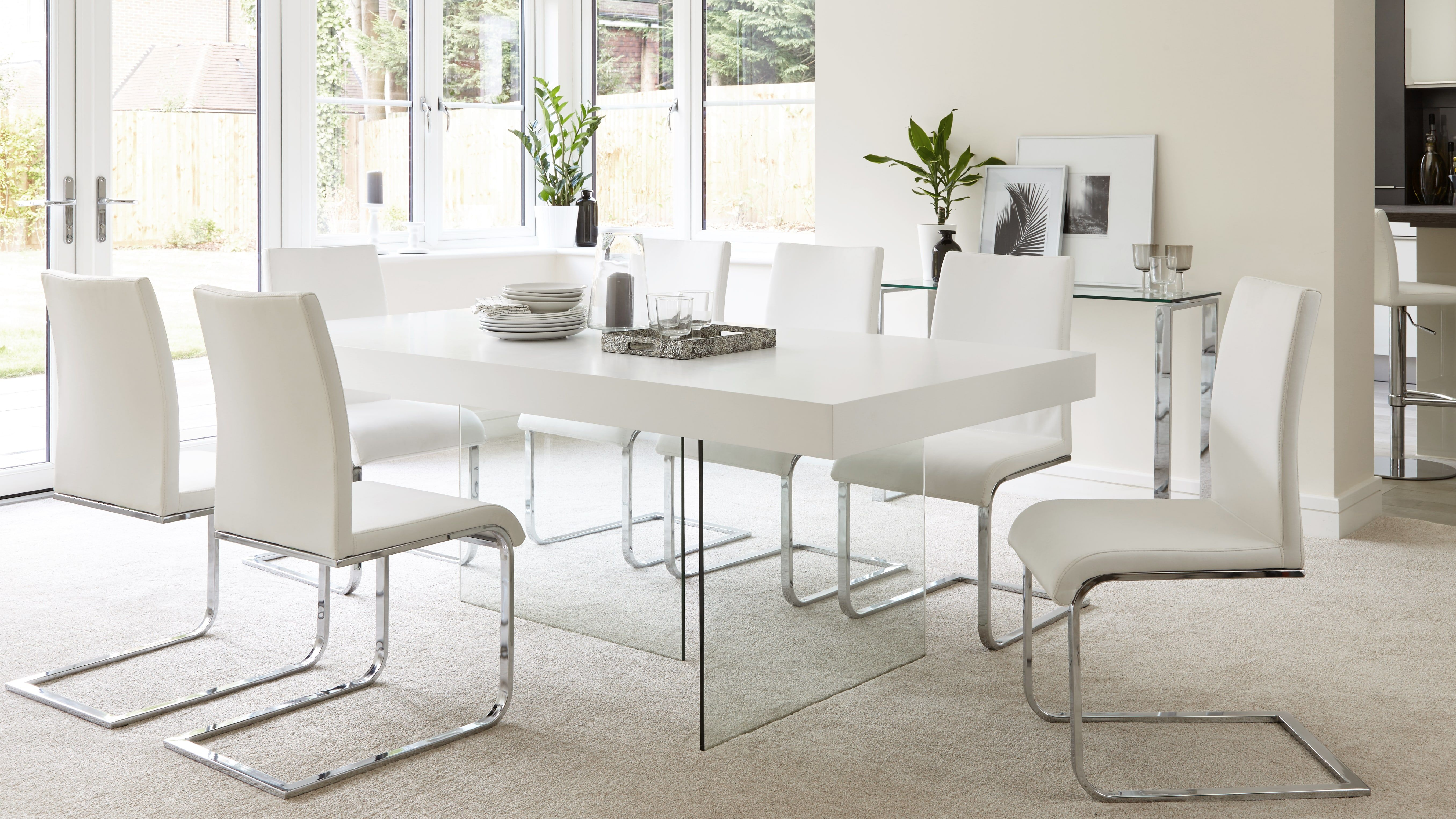 Aria White Oak And Glass Dining Table White Glass Dining Table
