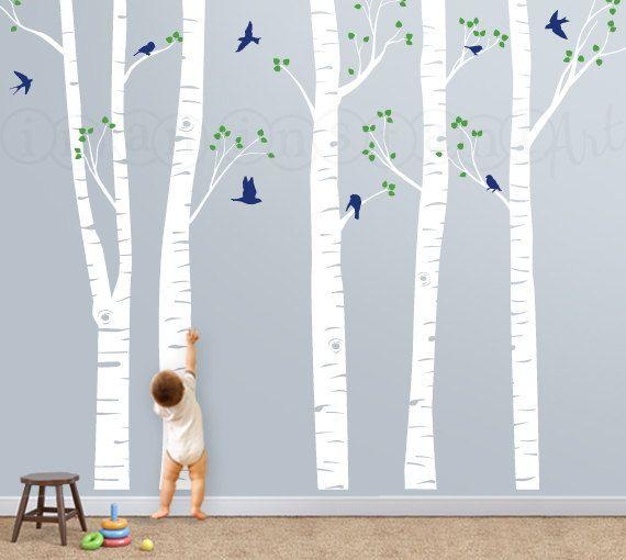 Árbol de la etiqueta con el vuelo de las aves, abedules, Birch ...
