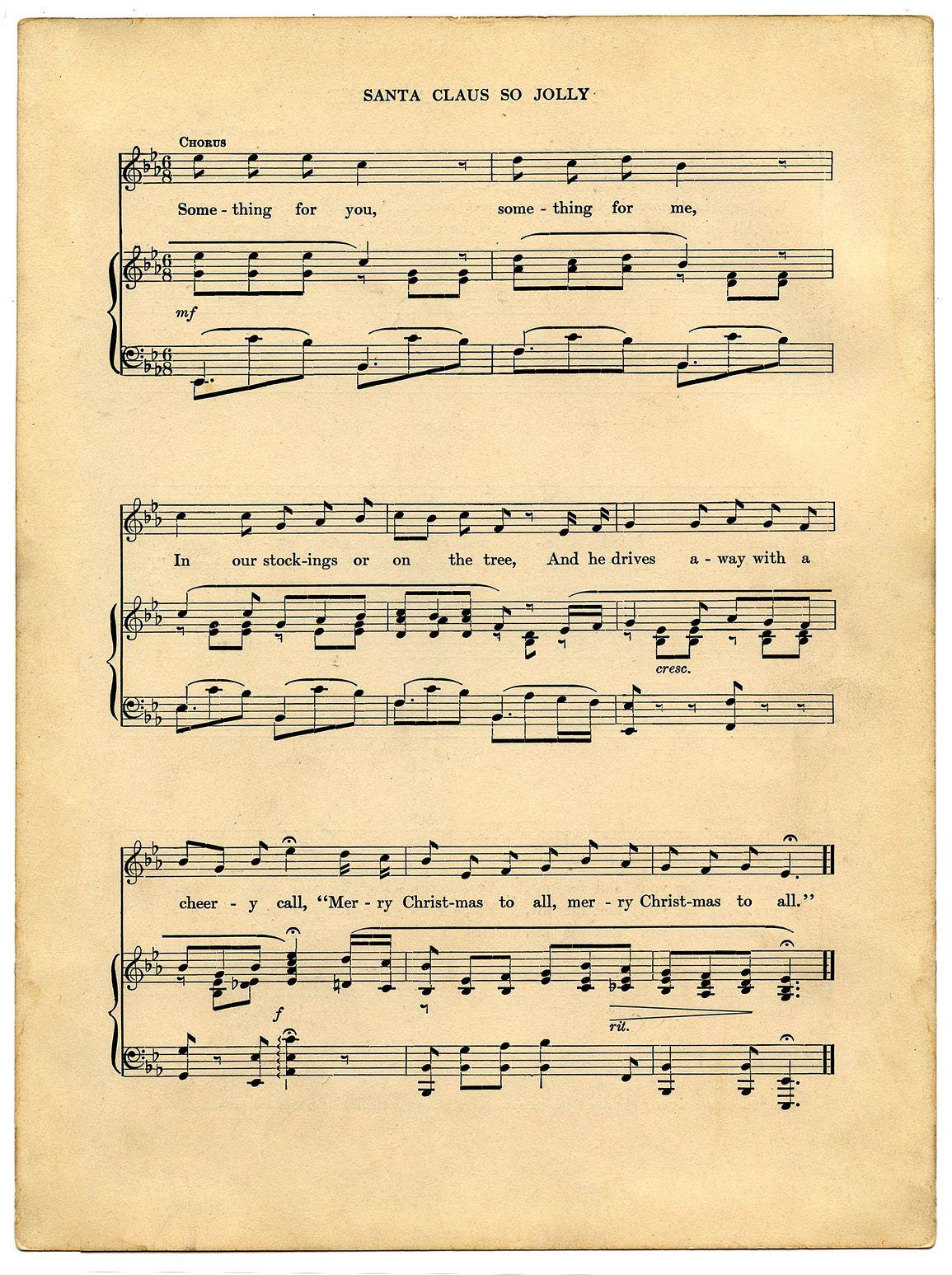 Vintage Printable - Christmas Sheet Music - Santa | Christmas ...