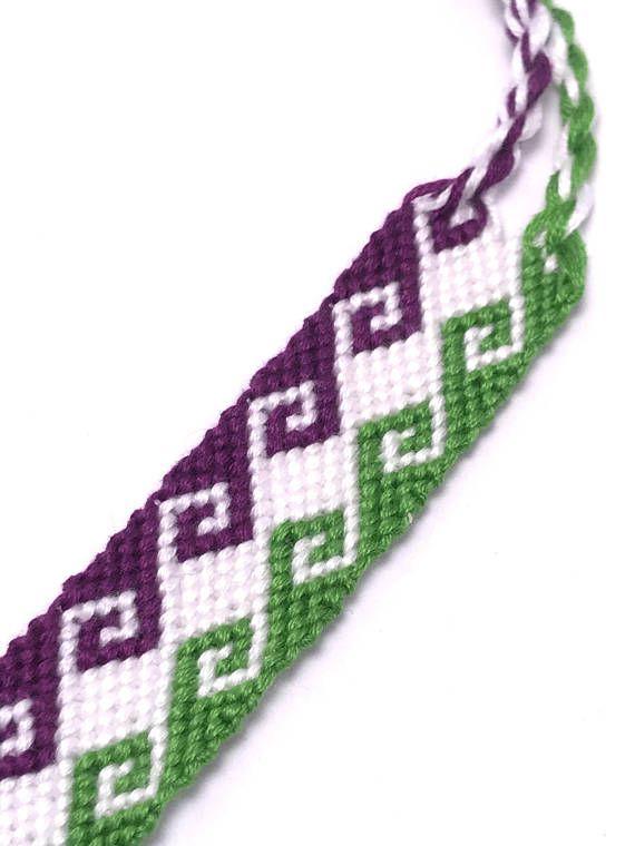 Friendship bracelet - greek wave - wide - embroidery floss - tidal ...