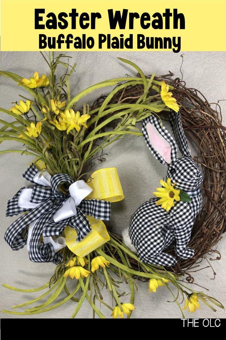 Photo of Easter Decor, Buffalo Plaid Bunny Wreath, Spring Wreath, Black and White Easter Wreath, Bunny Wreath
