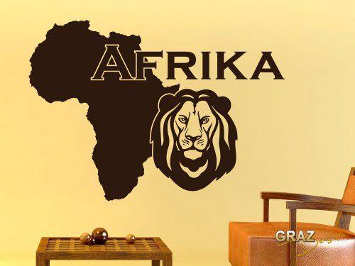 Wandtattoo Wohnzimmer Deko Wand Aufkleber Wanddeko Afrika Karte Umriss Lnder Tiere Lwe Savanne Grsse
