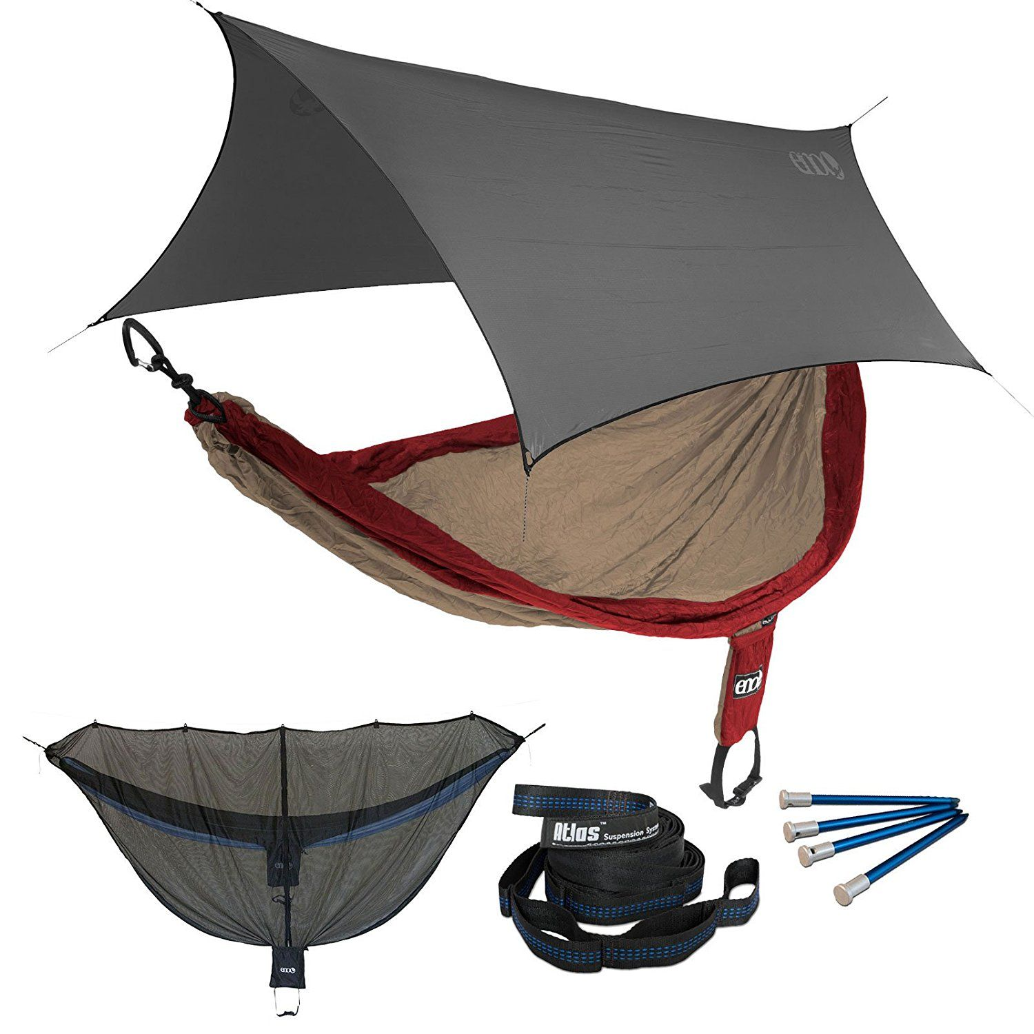 ENO SingleNest OneLink Sleep System - Tomato/Khaki Hammock With Grey Profly *** Find out more details by clicking the image : Camping Furniture