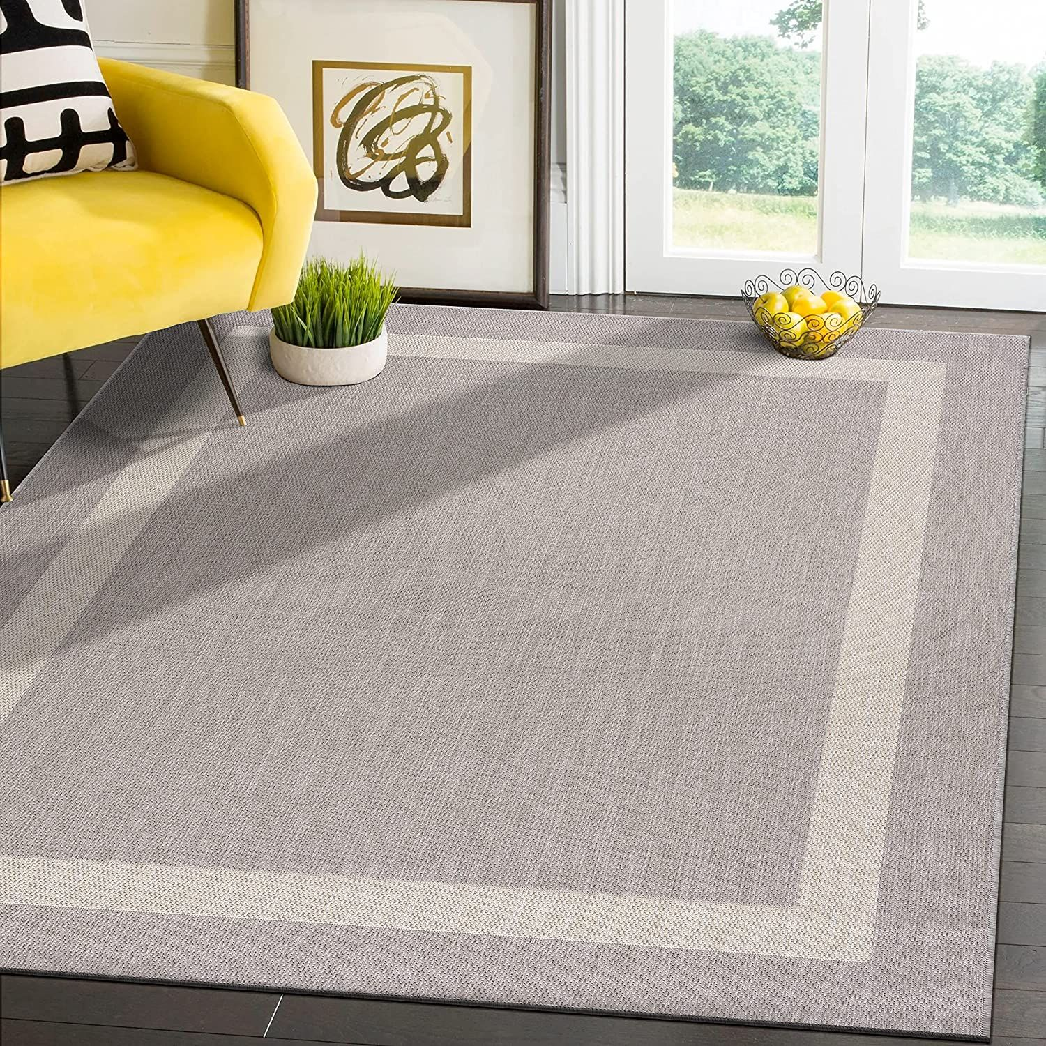 Modern Area Rugs for Indoor/ Outdoor Bordered   Grey / White   8x10 Gallery