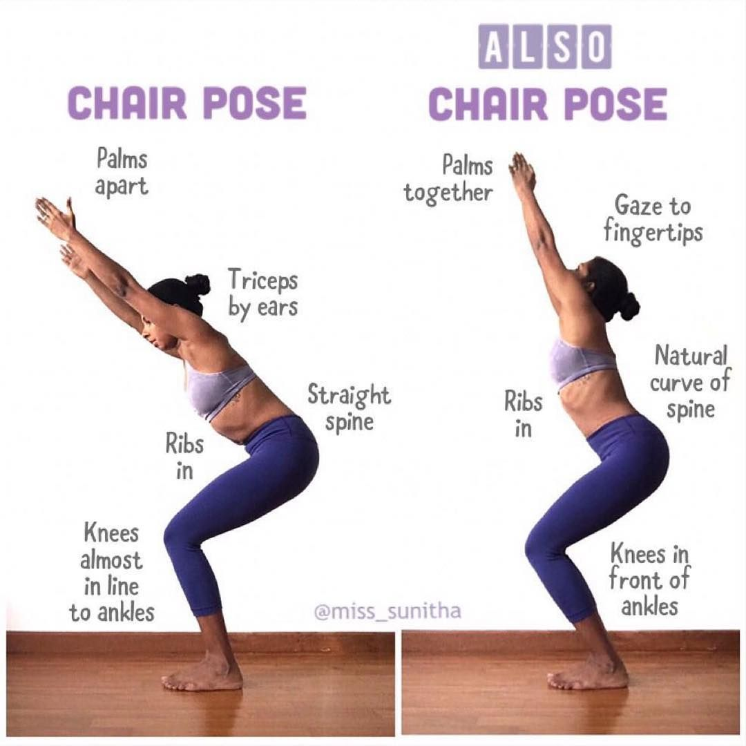 Miss Sunitha On Chair Pose If You Ve Been To A Variety Of Yoga Classes You May Have Heard Chair Pose Utkata Chair Pose Yoga Chair Pose How To Do Yoga