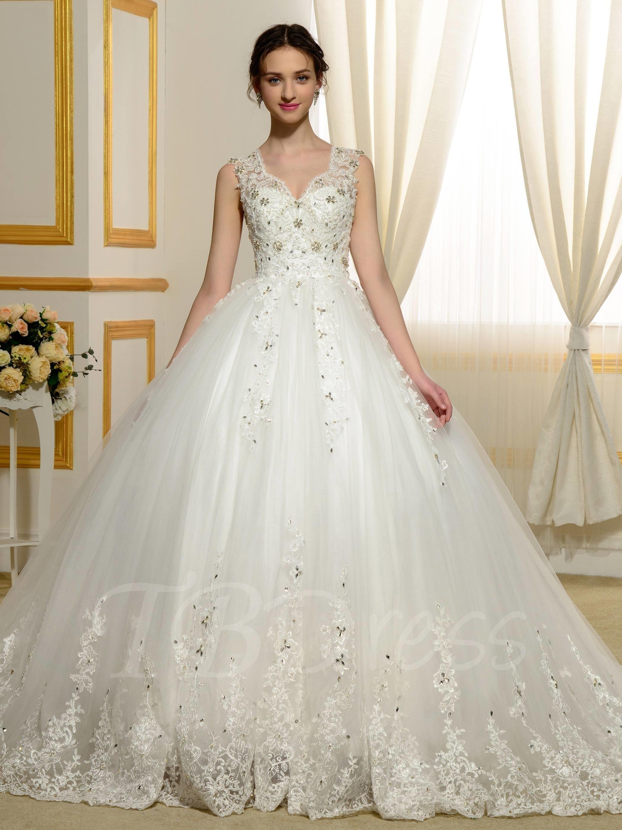 TBDress - TBDress Designer V-Neck Beading Appliques Lace Ball Gown ...