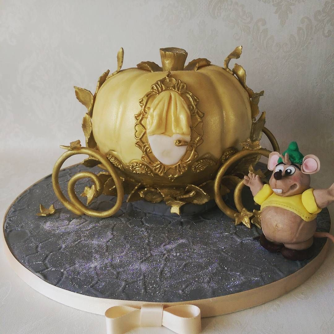 Cinderella pumpkin carriage birthday cake and Gus figure