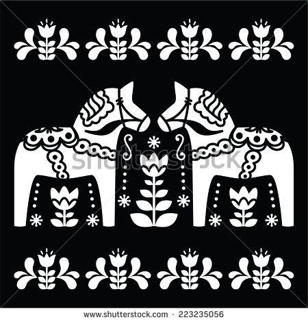 Swedish Dala Or Daleclarian Horse Folk Art Pattern On Black By Redkola Sweden Folk Art Pattern Art Scandinavian Folk Art