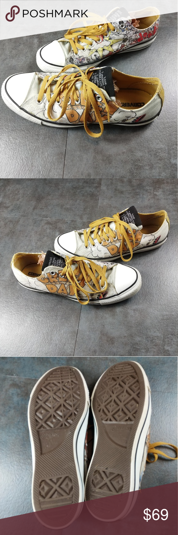 Converse Green Day Dookie Grunge Classic Sneakers Limited Special Edition Green Day Dookie Album Art Low Top Classic Chuck's In Great Pre Owned Condition that is detailed in photos. There is some small debris and dirt from normal wear but no flaws  Canvas Upper Yellow interior and shoestrings Original album art on the shoe and song list on the tounge   Unisex Size 10 men or 12 women Converse Shoes Sneakers #lowalbum Converse Green Day Dookie Grunge Classic Sneakers Limited Special Edition Green #lowalbum
