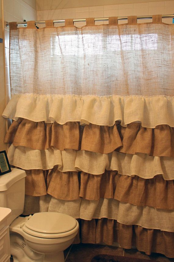 Burlap shower curtain burlap ruffles pinterest - Cortinas de ducha ...