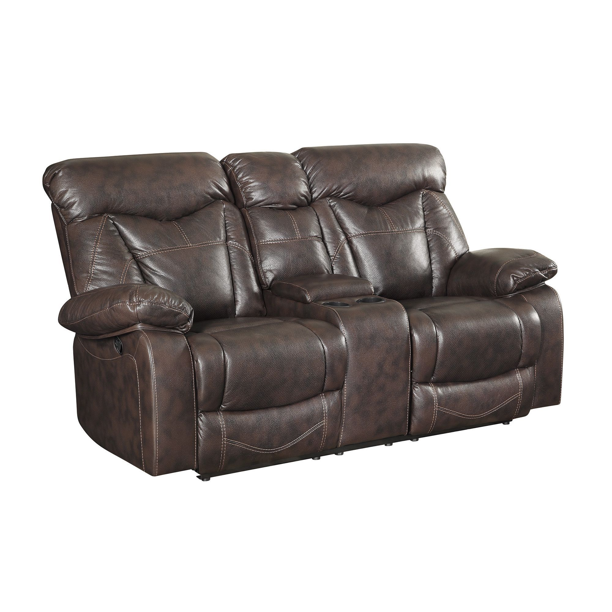 Awesome Coaster Company Brown Faux Leather Motion Loveseat Motion Cjindustries Chair Design For Home Cjindustriesco