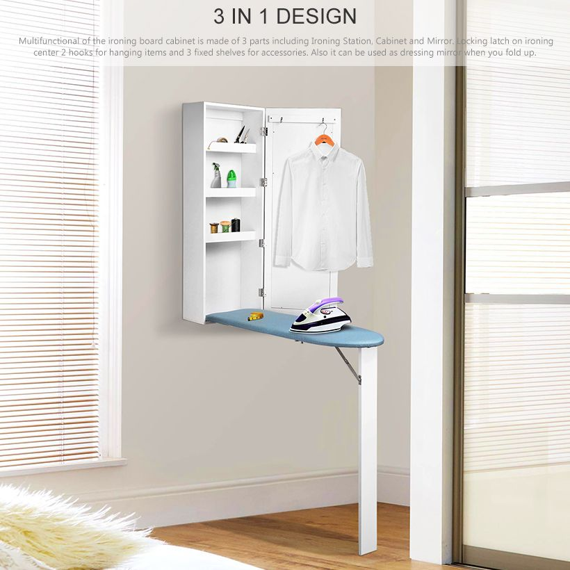 Sortwise Ironing Board Cabinet Wall Mounted Mirror With