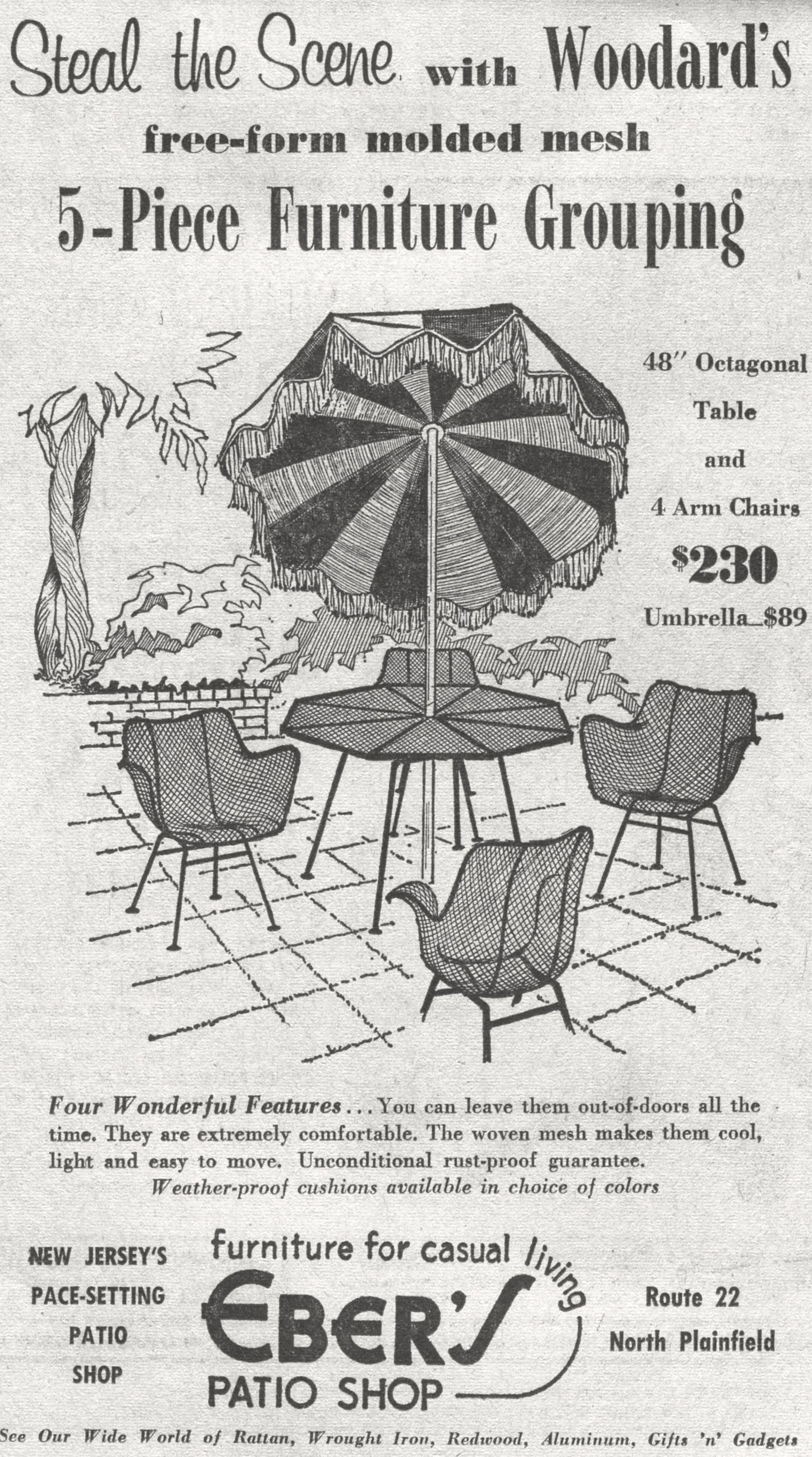 Eber s Patio Shop Ad in North Plainfield NJ 1968